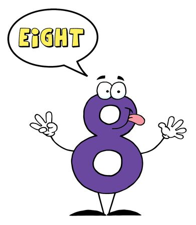 Friendly Number 8 Eight Guy With Speech Bubble  photo