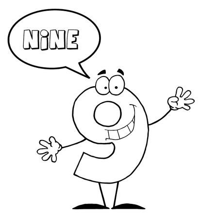Outlined Number 9 Nine Guy With Speech Bubble  Stock Photo