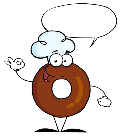 flavorful: Friendly Donut Cartoon Character With Speech Bubble
