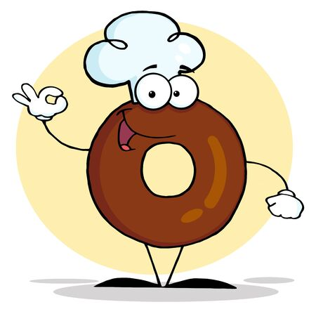 フレンドリーなドーナツの漫画のキャラクター 写真素材