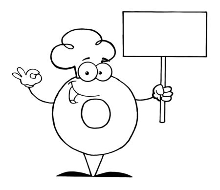 Outlined Donut Cartoon Character Holding A Blank Sign