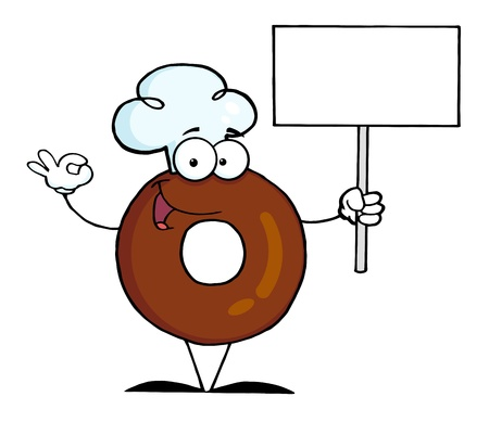 Donut Cartoon Character Holding A Blank Sign  photo
