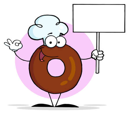 Friendly Donut Cartoon Character Holding A Blank Sign  photo