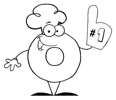 ドーナツの漫画の文字の番号のいずれかを概説 写真素材