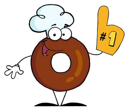 flavorful: Donut Cartoon Character Number One  Stock Photo