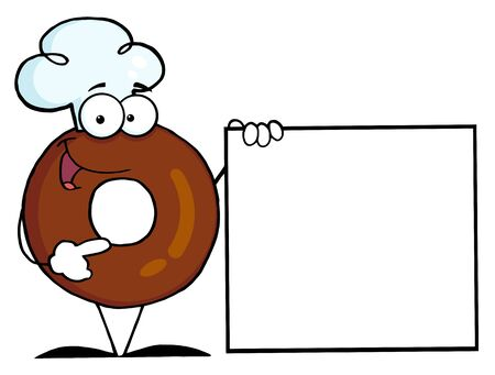 Donut Cartoon Character Presenting A Blank Sign