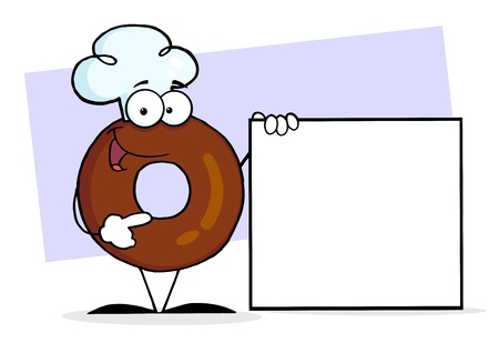 sweetened: Friendly Donut Cartoon Character Presenting A Blank Sign  Stock Photo