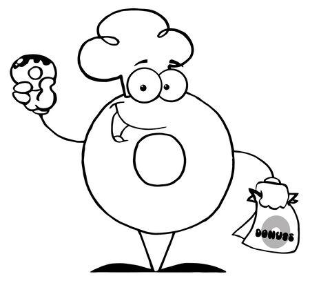 ドーナツ ドーナツを保持している漫画のキャラクターを概説 写真素材