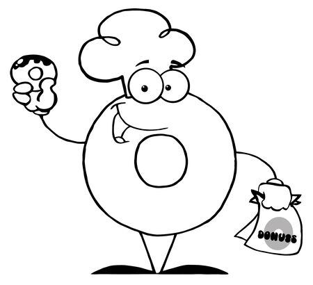 Outlined Donut Cartoon Character Holding A Donut  photo