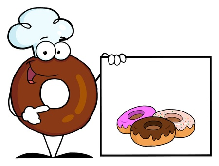 Donut Chef Cartoon Character Presenting A Blank Sign With Donuts  photo