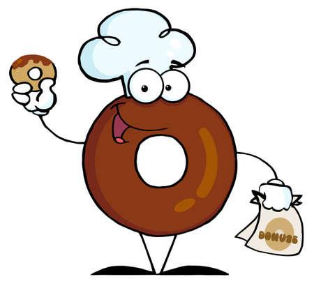 sweetened: Donut Cartoon Character Holding A Donut