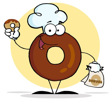 Friendly Donut Cartoon Character Holding A Donut  Stock Photo