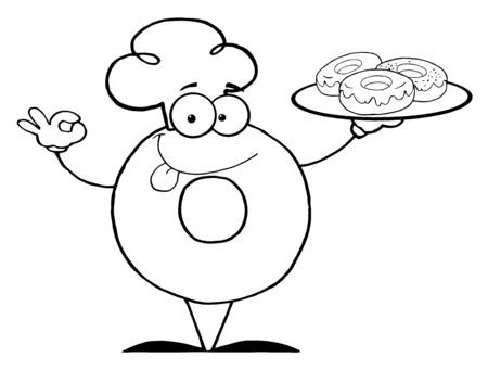 Outlined Friendly Donut Chef Cartoon Character Holding A Donuts  photo