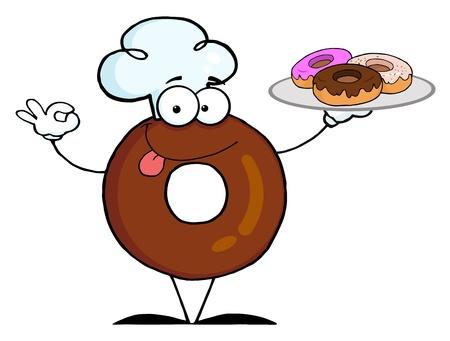 フレンドリーなドーナツ シェフの漫画のキャラクター、ドーナツを保持