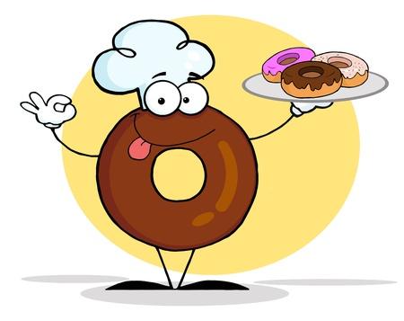 ドーナツ シェフの漫画のキャラクター、ドーナツを保持 写真素材
