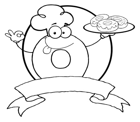 sweetened: Outlined Friendly Donut Chef Cartoon Character Holding A Donuts Banner