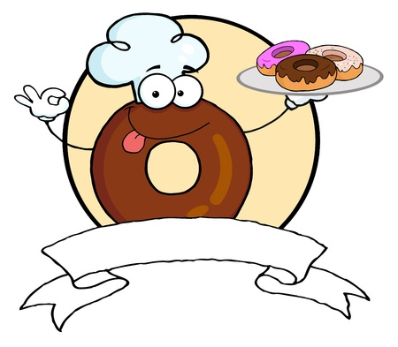Friendly Donut Chef Cartoon Character Holding A Donuts Banner  photo