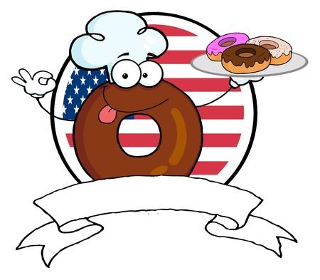 米国の旗の前でドーナツ バナーを保持しているドーナツ シェフの漫画のキャラクター 写真素材