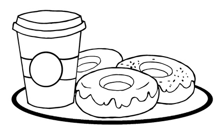 Outlined Coffee Cup With Donuts