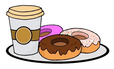 ドーナツとコーヒー カップ
