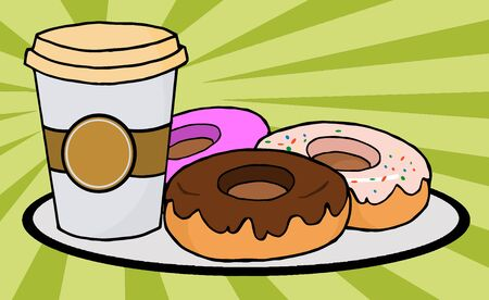 Coffe Cup With Donuts photo