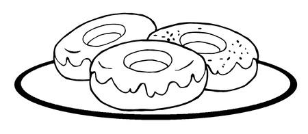 輪郭を描かれたドーナツ
