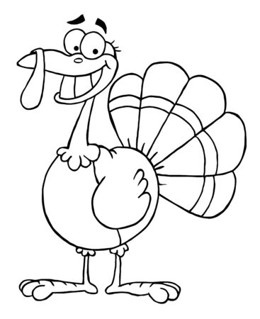 outlined isolated: Outlined Turkey Mascot Cartoon Character  Stock Photo