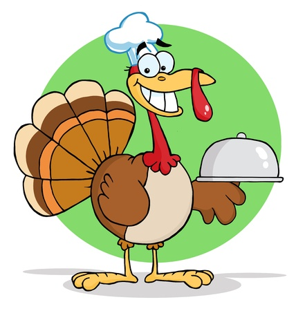 Turkey Cartoon Chef Serving A Platter  photo