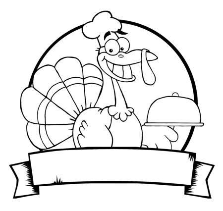 autumn colouring: Outlined Turkey Chef Serving A Platter Over A Circle And Blank Banner