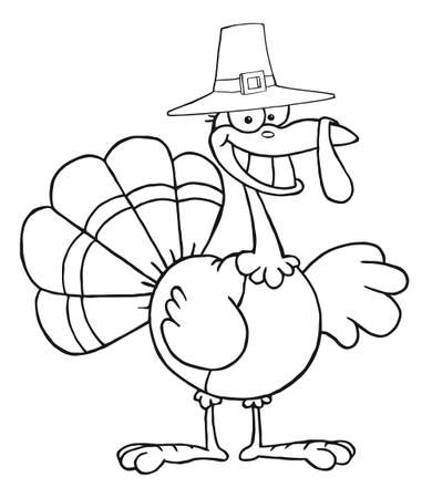 Outlined Turkey Cartoon Character With Pilgrim Hat  photo
