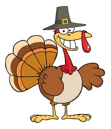 Happy Turkey Cartoon Character With Pilgrim Hat  photo