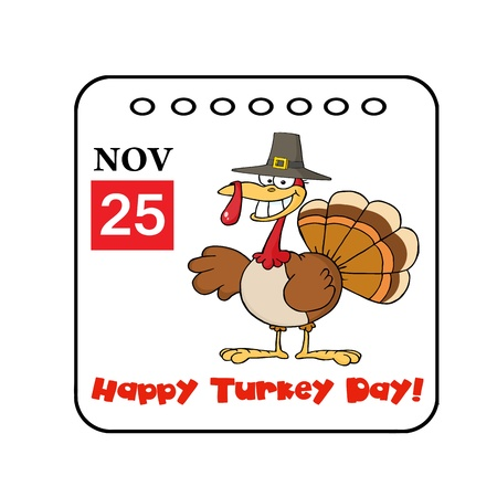 25th: Happy Turkey Day November 25th Calendar With A Turkey Bird Stock Photo