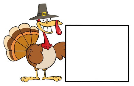 thankful: Turkey Cartoon Character Presenting A Blank Sign  Stock Photo