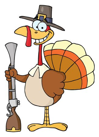 thanksgiving turkey: Hunting Thanksgiving Pilgrim Turkey Bird With A Musket Stock Photo