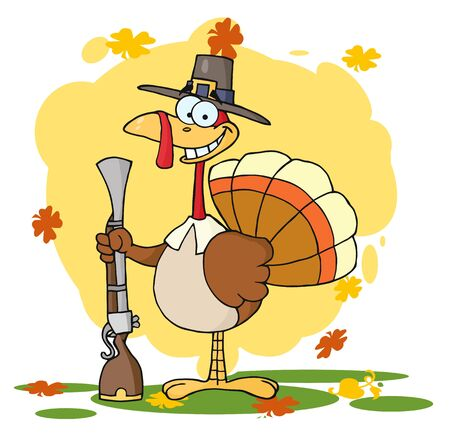thanksgiving turkey: Turkey With Pilgrim Hat and Musket