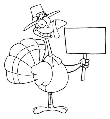 Outlined Turkey With Pilgrim Hat Holding A Blank Sign  photo