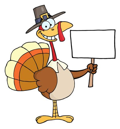thankful: Happy Turkey With Pilgrim Hat Holding A Blank Sign