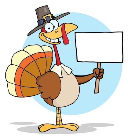 pavo: Feliz Bird de Turquía de peregrino de acción de gracias holding de un inicio de sesión en blanco Foto de archivo