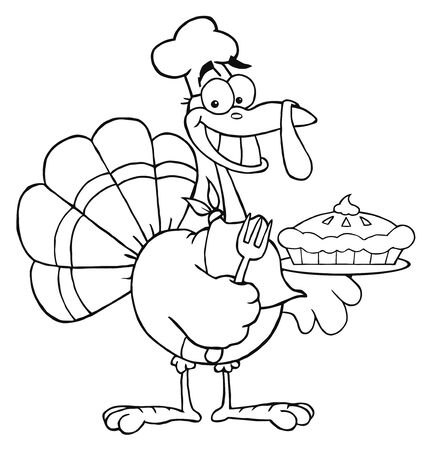 Outlined Happy Turkey Chef With Pumpkin Pie  Stock Photo