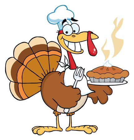Happy Thanksgiving Türkei Bird Holding eine Torte Standard-Bild - 8284186
