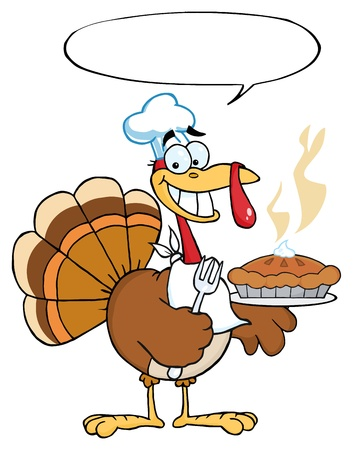 Happy Thanksgiving Turkey Bird Holding A Pie Фото со стока - 8284267