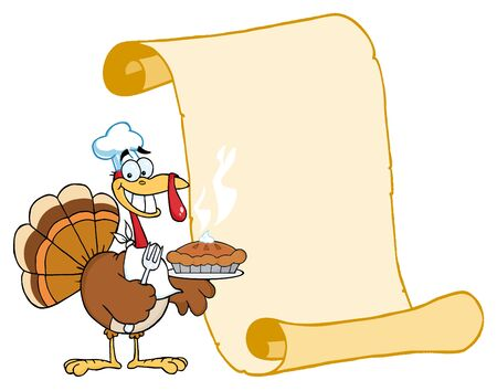 thanksgiving turkey: Happy Thanksgiving Turkey Bird Holding A Pie By A Blank Menu Scroll Stock Photo