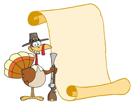 thanksgiving menu: Happy Turkey With Pilgrim Hat and Musket And Scroll  Stock Photo