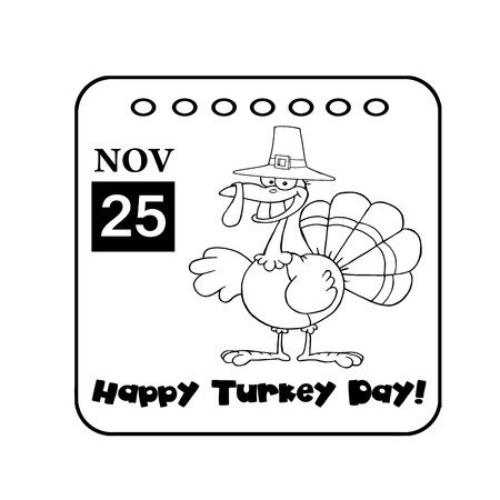 Black And White Thanksgiving Holiday Calendar Stock Photo - 8284116