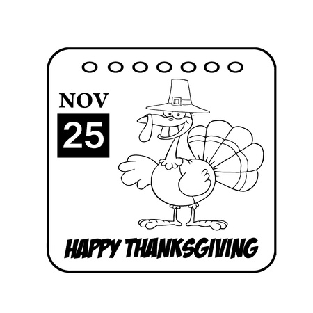 Thanksgiving Holiday Calendar Black And White Stock Photo - 8284153
