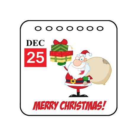 cartoon calendar: Christmas Holiday Cartoon Calendar  Stock Photo