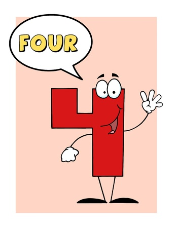 Number 4 Four Guy With Speech Bubble