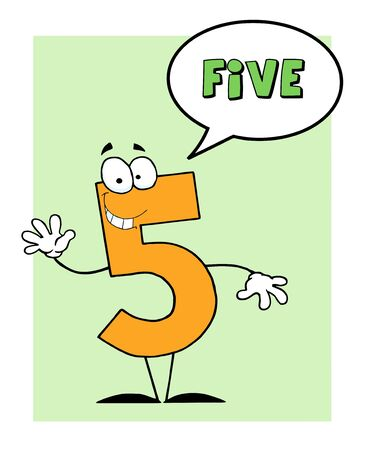 Number 5 Five Guy With Speech Bubble  Vector