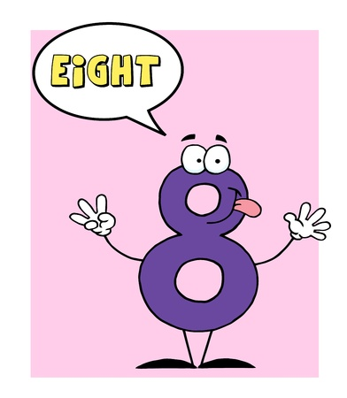 stock clip art icon: Number 8 Eight Guy With Speech Bubble