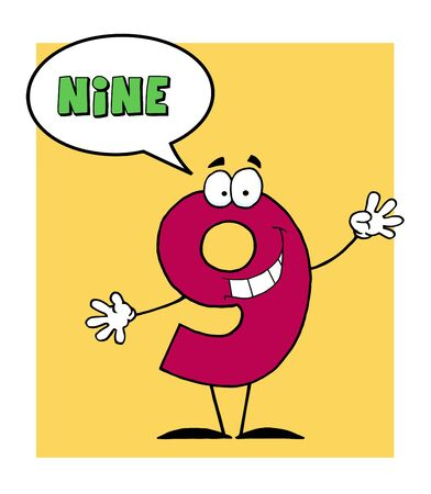 stock clipart icons: Number 9 Nine Guy With Speech Bubble  Illustration